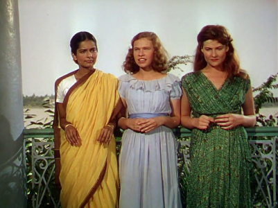 Melanie (Radha Burnier), Harriet (Paricia Walters) and Valerie (Adrienne Corri) in The River (1951), Dir. Jean Renoir